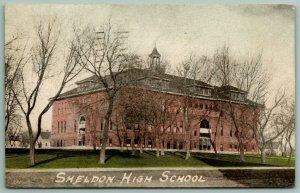 Sheldon IA~Little Cupola*~Thru The Winter Trees~Green Grass~High School c1910 PC