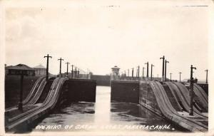Colon Panama opening of Gatun Locks Panama Canal real photo pc Y11941
