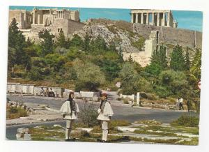 Greece Athens Evzone Royal Guards Acropolis Uniform Vintage Postcard 4X6
