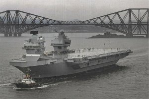 Postcard HMS Prince of Wales Aircraft Carrier 2019 near Forth Bridge DQ9