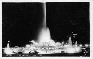 G34/ Chicago Illinois RPPC Postcard c1910 Buckingham Fountain Night