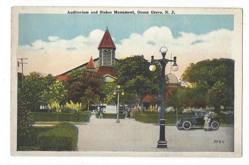 Ocean Grove NJ Stokes Memorial and Auditorium Lamppost Car Vintage Postcard