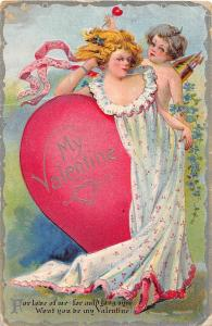 C78/ Valentine's Day Love Holiday Postcard 1911 Girl Cupid Heart Dress 22