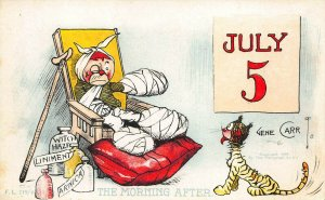 Artist Gene Carr 4th of July The Morning After Firecracker Postcard