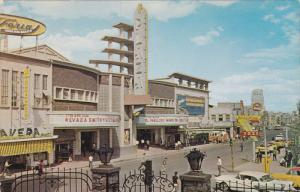 CIUDAD JUAREZ, Mexico, 1950-1960's; Cine Plaza, Comando Store, Classic Cars