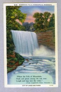 Minnehaha Falls, Minneapolis, Minnesota, unused Curteich linen Postcard