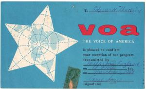 QSL, Voice of America, Woofferton, England, 1969