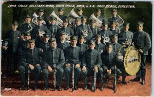 Vintage Iowa Postcard IOWA FALLS MILITARY BAND Musicians Instruments 1908 Cancel