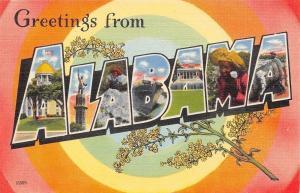 Alabama~State Large Letter Linen Postcard~Vulcan~Cotton Pickers~Bullseye~1940s