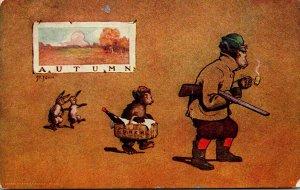 Bear With Shotgun Smoking Pipi Young BEar Carrying Lunch & Dancing Rabbits &q...