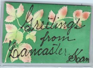 LANCASTER, KS   Greetings From  Embossed  Postcard  c1910s