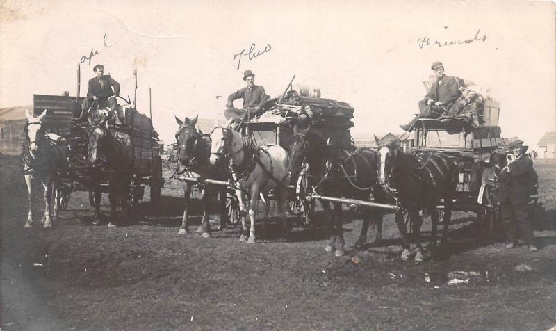 D86/ Occupational RPPC Real Photo Postcard c1910 Canada Delivery Wagons 5