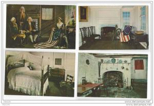 Betsy Ross House Interiors Philadelphia PA Lot of 4 Postcards American Flag