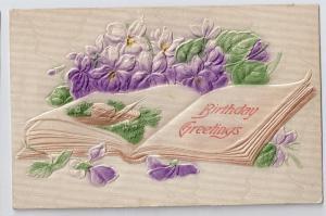 Vintage Birthday Postcard Embossed Airbrushed Violets c 1908