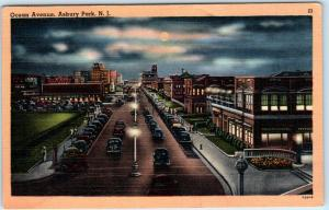 ASBURY PARK, New Jersey NJ   Moonlight View  OCEAN AVENUE Street Scene  Postcard