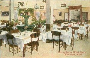 Charlevoix Michigan Dining room interior Hotel Elston C-1910 Postcard 8126