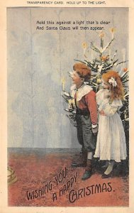 Santa Claus in Transparancy Merry Christmas Hold to Light 1903
