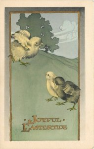 Easter~Yellow Chick Spreads His Wings~Runs Downhill to Others~Gibson Art Co~1914