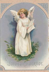 EASTER; A Joyous Eastertide, 1900-10s; Angel with book, Embossed