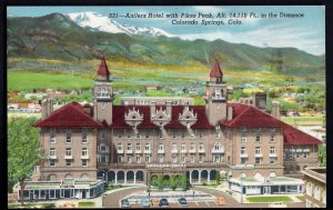 41220) Colorado COLORADO SPRINGS Antlers Hotel with Pikes Peak - pm1955 - Chrome