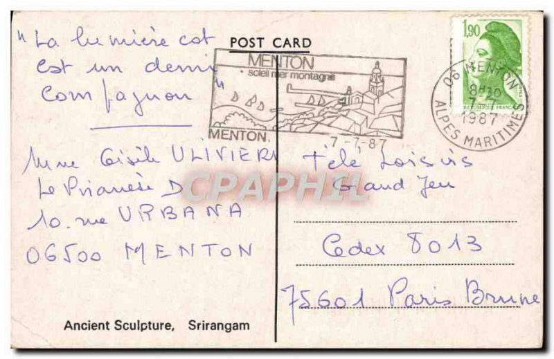 Postcard Modern Ancient Sculpture Srirangam