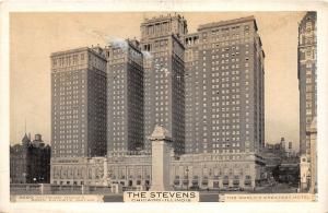 Chicago Illinois~Stevens Hotel on Michigan Boulevard~1950s B&W Postcard