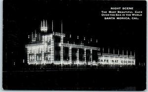Santa Monica, CA Postcard CAFÉ NAT GOODWIN Night View Geo Nice & Sons c1910s