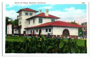 Early 1900s Santa Fe Railroad Depot, Stockton, CA Postcard