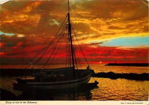 Sloop Boat Bahamas Sunset pm 1976 Caribbean Postcard