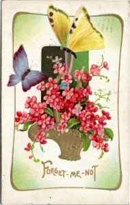 Forget-Me-Not -- flowers with yellow and blue butterfly - greetings postcard