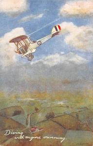 Aircraft In The Air Diving with the Engine running Oilette