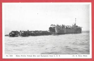 Naval Ships - #1226 - Rhino Ferries Unload Men and Equipment from LST