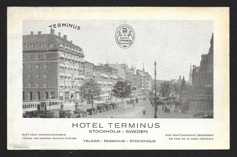 Hotel Terminus Stockholm Sweden unused c1920's