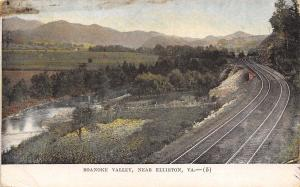 Elliston Virginia~Parallel Railroad Tracks Along the Roanoke River c1910 PC