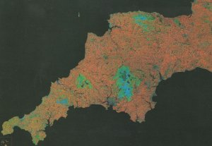 South West England From Outer Space Astronomy Map Postcard