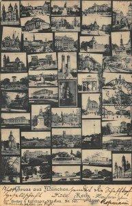 Gruss aus Munchen Germany Multi-View & Stamps Postcard