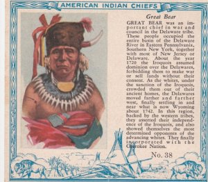 TC: RED MAN Chewing Tobacco Trade Card , 1890s ; American Indian Chiefs ; GRE...