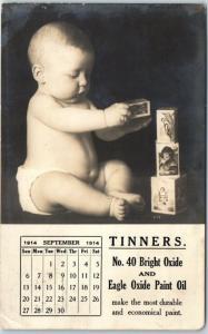 1914 Pittsburgh PA EAGLE PAINT & VARNISH RPPC Ad Postcard Baby Playing w/ Blocks