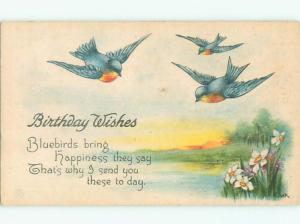 Unused Pre-Linen signed BEAUTIFUL BLUE BIRDS FLY OVER LAKE k8446