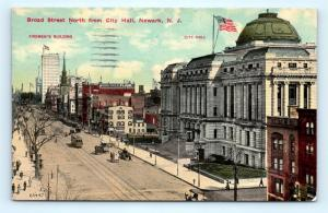 Postcard NJ Newark Broad Street North From City Hall 1915 View I1