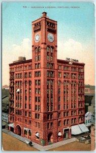 PORTLAND, Oregon OR   Newspaper  OREGONIAN BUILDING ca 1910s   Postcard