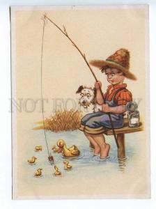 241660 GERMANY CHILDREN boy fisherman Airedale terrier DOG OLD