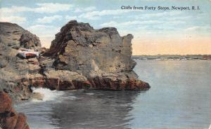 Cliffs From Forty Steps, Newport, Rhode Island, Early Postcard, Unused