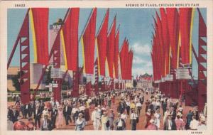 Chicago World's Fair 1933 Avenue Of Flags Curteich