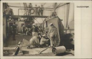 German Navy Sailors on Deck - Cleaning? GESCHUTZREINIGIN c1910 RPPC