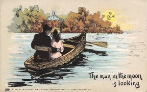 Old Songs Re-Sung~Man in the Moon is Looking~Couple in Rowboat~1909 Postcard