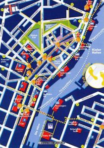 Germany Map Postcard, 2006 Main Town Tourist Map of Kiel F16