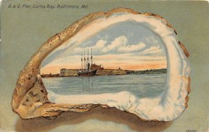LP93  Baltimore Maryland  Pier Curtis Bay Shell Border     Postcard