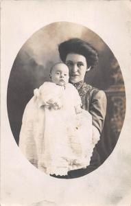 B41/ Minerva Ohio Postcard Real Photo RPPC People 1909 Baby Mother 10