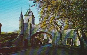 Canada Quebec La Cite The Saint Louis Gate Forms Part Of The Enclosing Wall O...